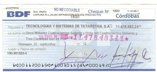 Foto: Después de un proceso que inició en agosto de 2012, el mismo Francisco López, vicepresidente de Albanisa y firma libradora de Caruna, autoriza el cheque a favor de Tectasa.