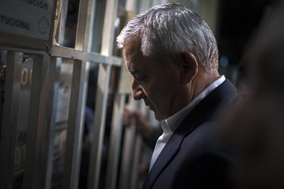 Otto Pérez Molina, en una de las audiencias de primera declaración del caso Cooptación del Estado.