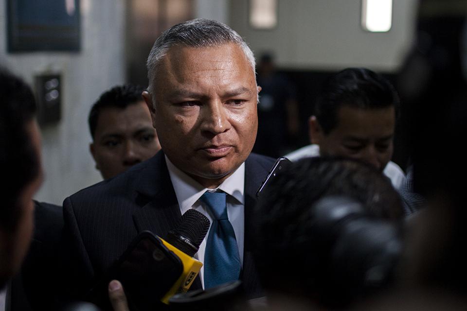 Salvador Estuardo González Álvarez, en una de las audiencias del caso La Línea.