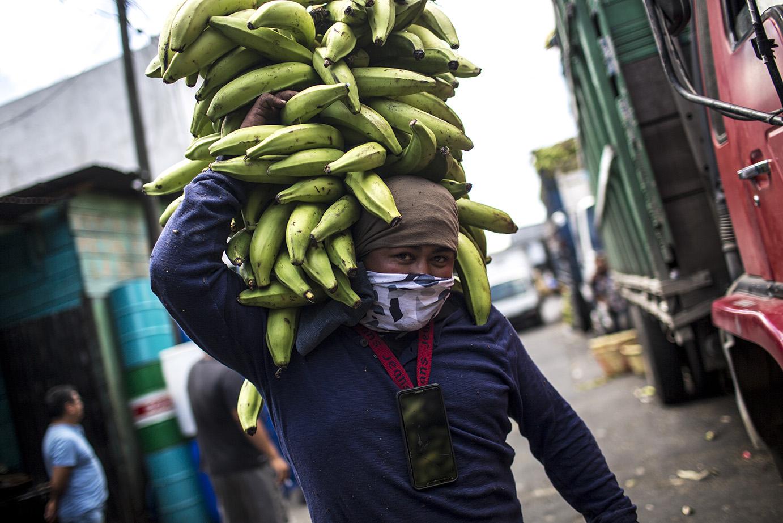 Ronald Quintero, 30, carga plátanos en la platanera del mercado de la Terminal, el miércoles 18. No puede dejar de trabajar y sigue ganando 1 quetzal por cada carga de plátanos transportada. Simone Dalmasso