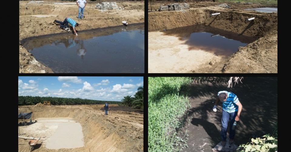 Algunas de las lagunas de Repsa donde llegan los desechos que produce su planta procesadora. Estas se rebalsaron y su contenido llegó al río.