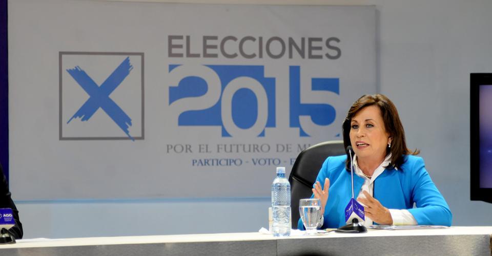 Sandra Torres, candidata presidencial de la Unidad Nacional de la Esperanza (UNE).