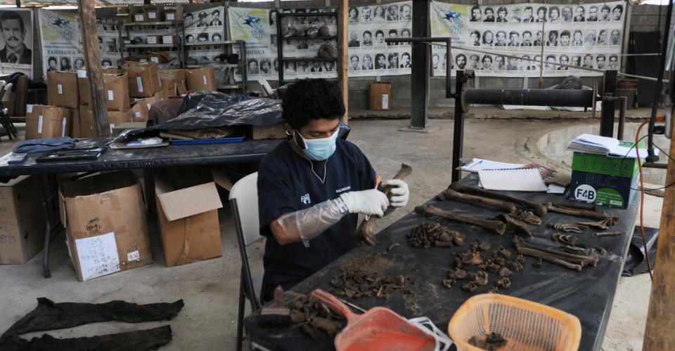 Un antropólogo limpia una osamenta. Atrás fotos de desaparecidos durante el conflicto armado.